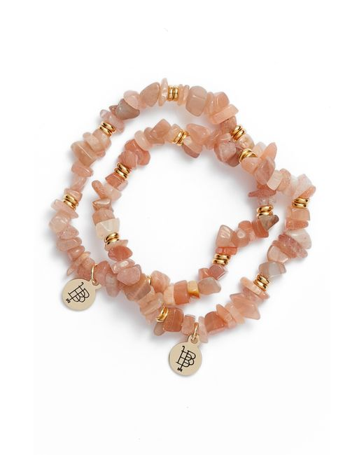 Bourbon and Boweties Multicolor Set Of 2 Moonstone Beaded Stretch Bracelets