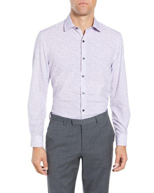 W.r.k. Purple Slim Fit Performance Stretch Floral Dress Shirt for men