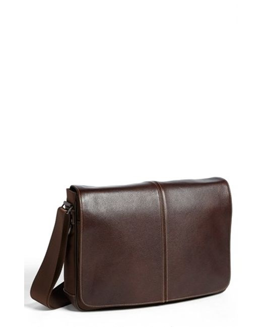 Boconi | Brown 'tyler' Slim Leather Laptop Briefcase for Men | Lyst