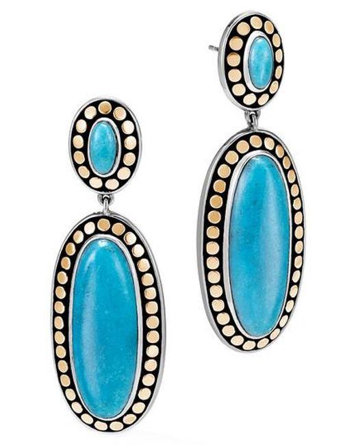 John Hardy - Blue Dot Oval Drop Earrings - Lyst