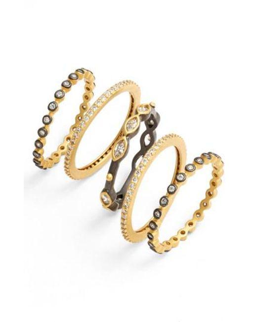 Freida Rothman - Metallic Delicate Stackable Rings (set Of 5) - Lyst