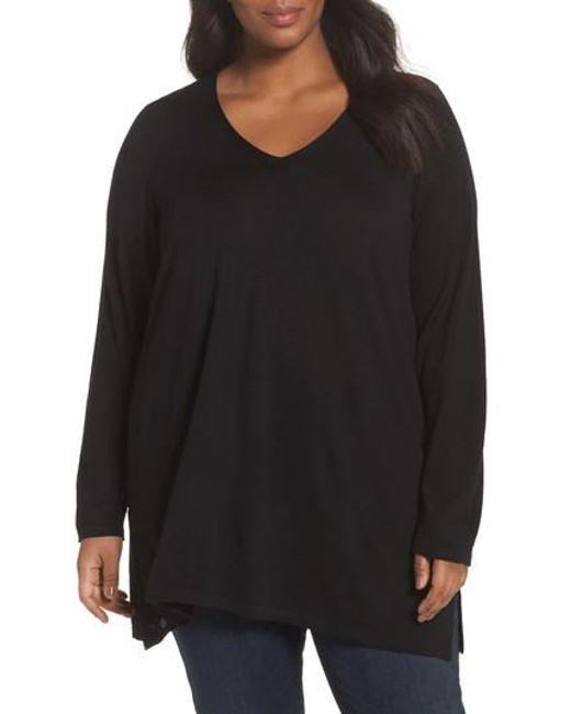 Eileen Fisher | Black Merino Wool Tunic Sweater | Lyst