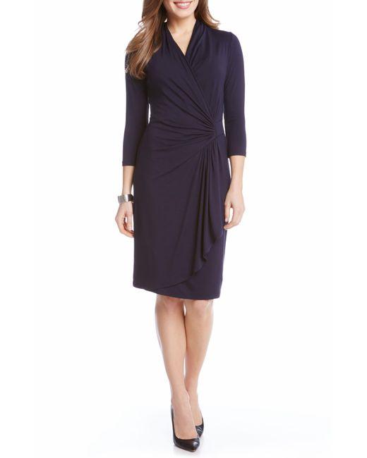 Karen Kane Blue Cascade Faux Wrap Dress