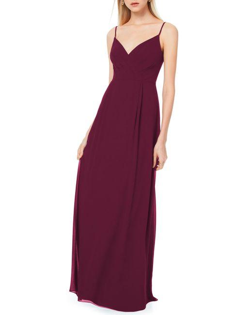 Levkoff Purple Pleated Bodice Chiffon Gown