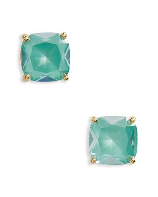 Kate Spade - Green Small Square Enamel Stud Earrings - Lyst