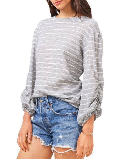 1.STATE Gray Ruched Sleeve Top