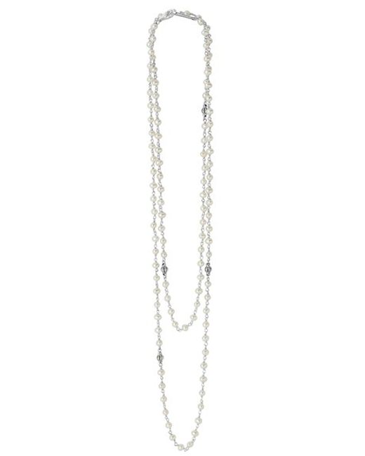 Lagos | White 'luna' Long Pearl Necklace | Lyst