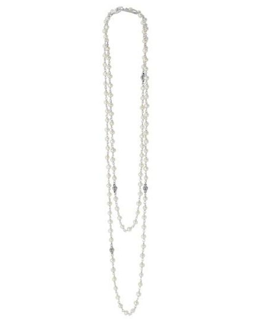 Lagos | Metallic 'luna' Long Pearl Necklace | Lyst