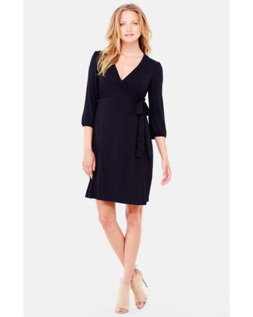 Ingrid & Isabel | Black Ingrid & Isabel Nursing Friendly Maternity Wrap Dress | Lyst