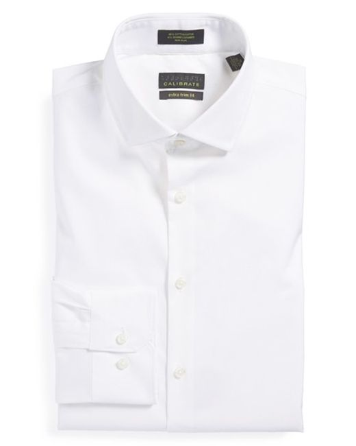 Calibrate | White Extra Trim Fit Non-iron Solid Stretch Dress Shirt for Men | Lyst