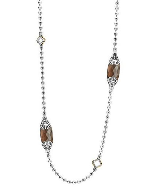 Lagos | Metallic 'caviar Color' Long Semiprecious Stone Station Necklace | Lyst