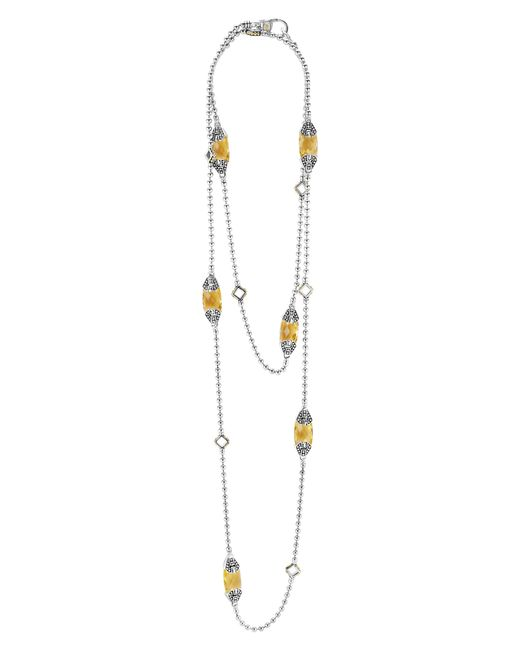 Lagos - Metallic 'caviar Color' Long Semiprecious Stone Station Necklace - Lyst
