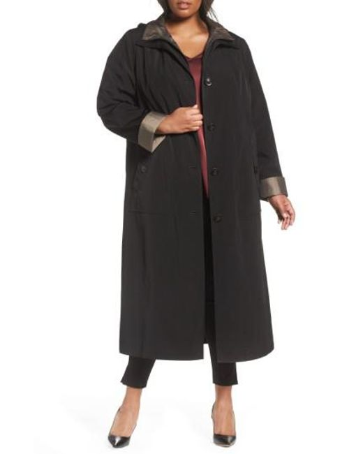 Gallery | Black Long Raincoat With Detachable Hood & Liner | Lyst