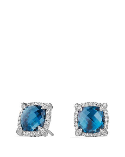 David Yurman Blue Châtelaine® Pave Bezel Stud Earring With Gemstone And Diamonds