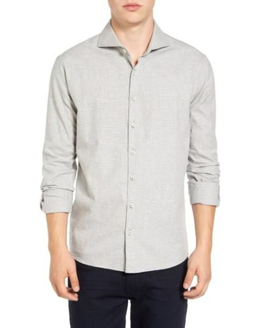 Singer + Sargent - Gray Regular Fit Glen Plaid Sport Shirt for Men - Lyst