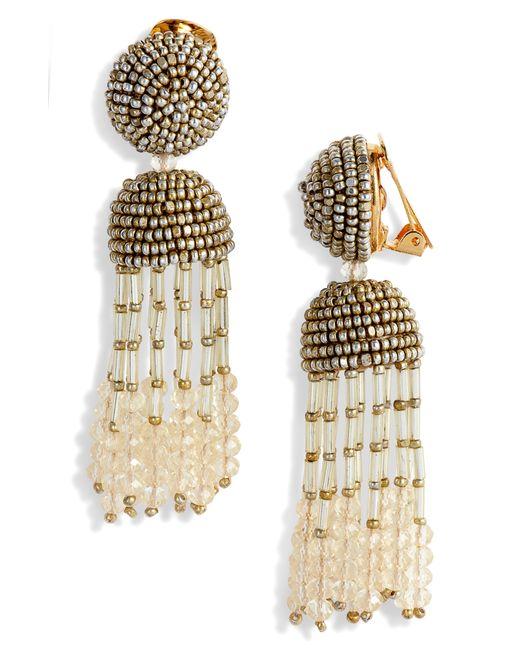 Oscar de la Renta - Multicolor Short Beaded Tassel Earrings - Lyst