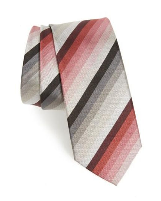 Paul Smith | Gray Multistripe Silk Skinny Tie for Men | Lyst