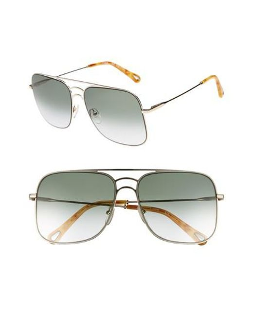Chloé - Multicolor 58mm Metal Navigator Sunglasses - Lyst