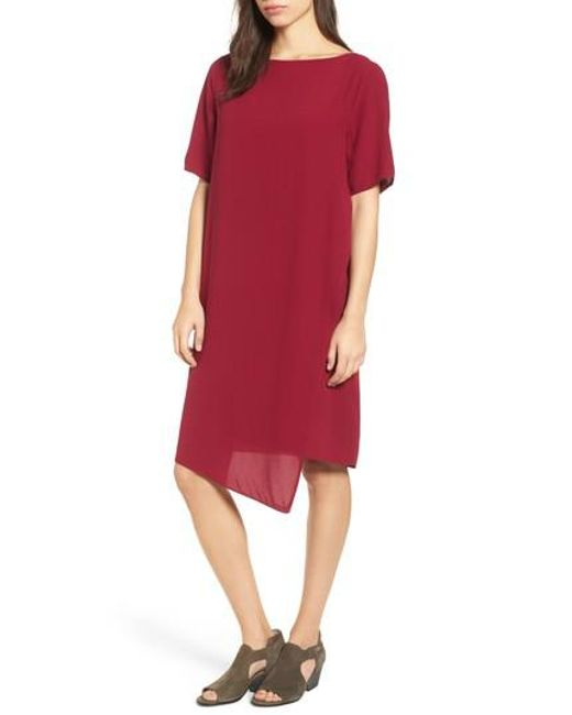 Eileen Fisher | Red Asymmetrical Silk Shift Dress | Lyst