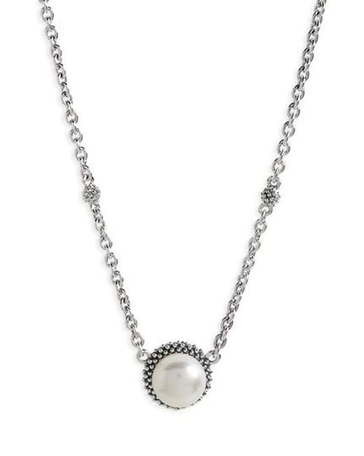 Lagos | Metallic 'luna' Pearl Pendant Necklace | Lyst