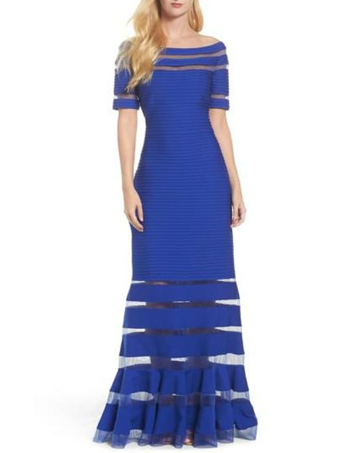 Tadashi Shoji | Blue Pintuck Jersey Off The Shoulder Gown | Lyst
