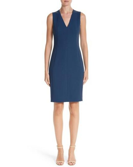 Akris | Blue Double Face Wool Crepe Sheath Dress | Lyst