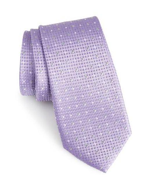 Calibrate   Purple Gest Dot Silk Tie for Men   Lyst