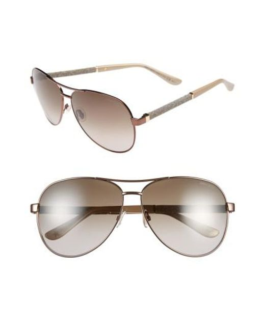 Jimmy Choo | Metallic 61mm Aviator Sunglasses - Bronze | Lyst