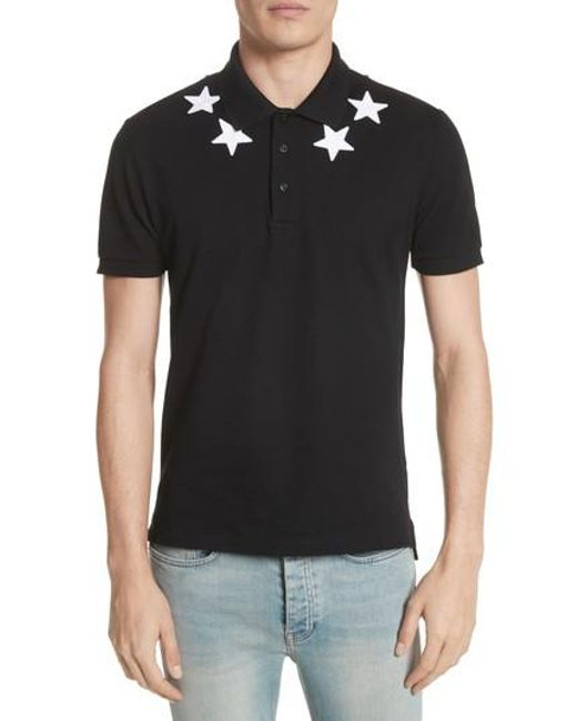 Lyst givenchy star polo shirt in black for men for Givenchy 5 star shirt