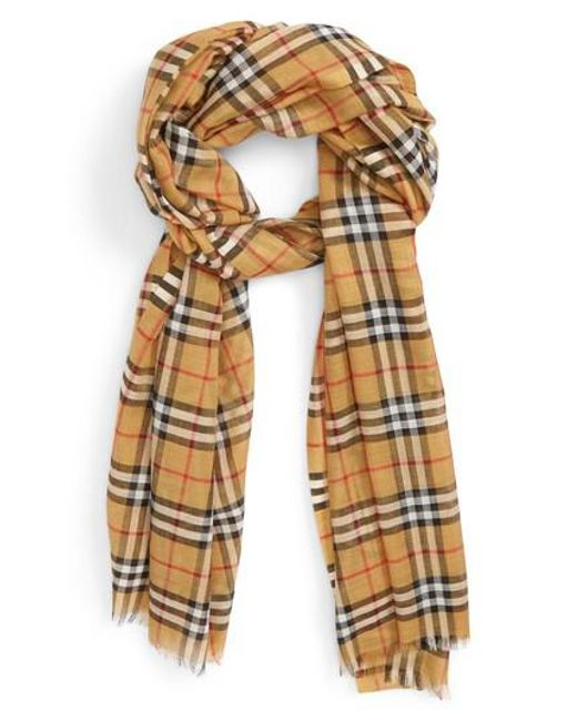 220X70 Vintage Check Gauze Scarf in Bright Yellow Wool Burberry zr8Xp6q