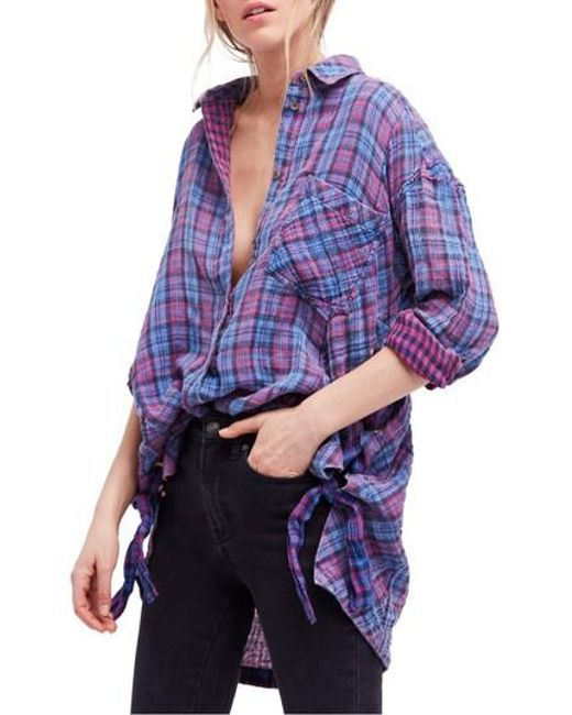 Free People - Blue Meet Me In Marfa Western Shirt - Lyst