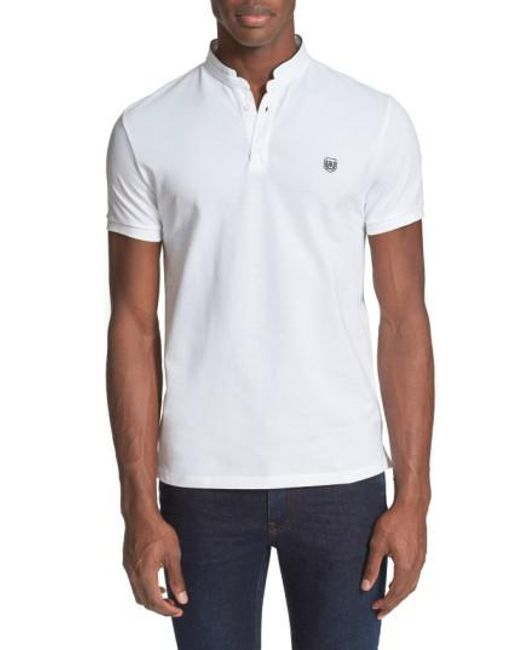 The Kooples | White Pipe Trim Band Collar Pique Polo for Men | Lyst