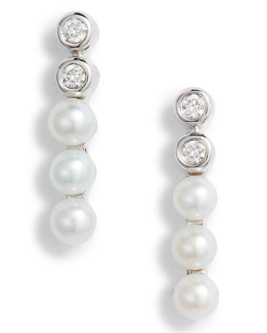 Dana Rebecca Multicolor Pearl & Diamond Bar Stud Earrings