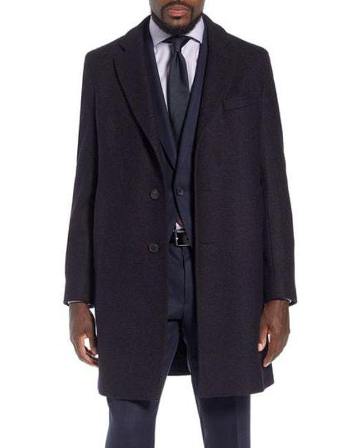 908059798e45 Lyst - Boss X Nordstrom Nye Wool Blend Top Coat in Black for Men
