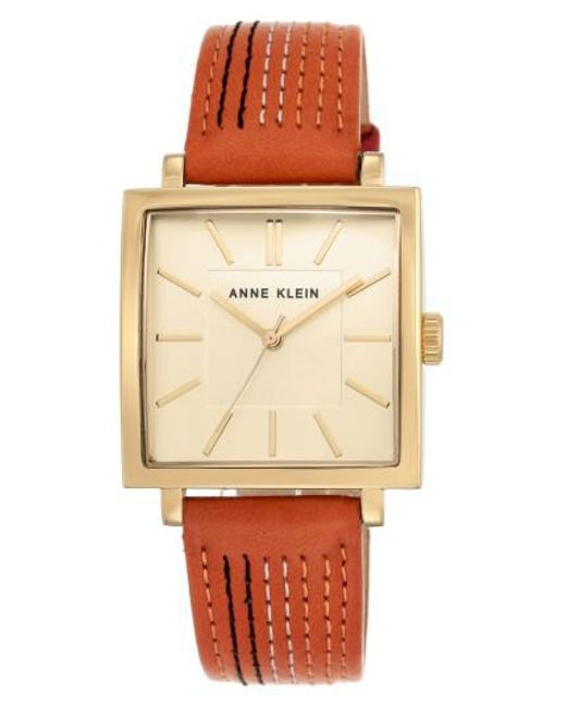 Anne Klein - Metallic Square Leather Strap Watch - Lyst