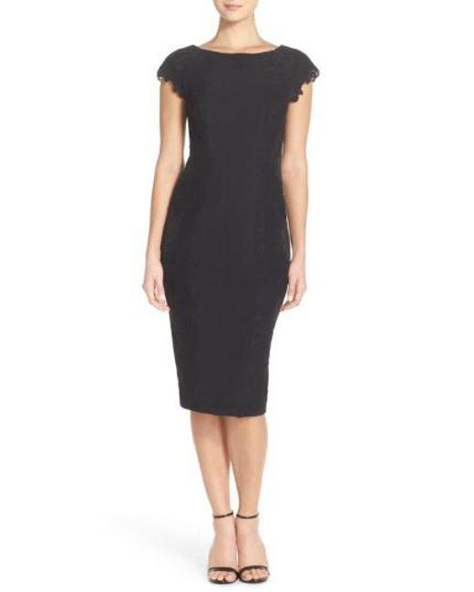 Maggy London - Black Lace Detail Crepe Sheath Dress - Lyst