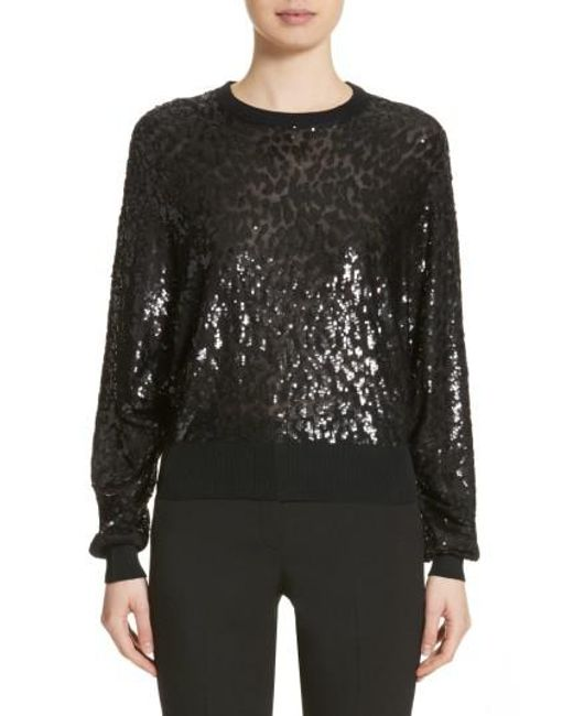Michael Kors | Black Sequined Tulle Leopard Sweater | Lyst