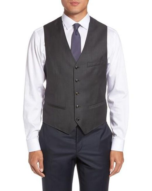 Ted Baker | Gray Troy Trim Fit Solid Wool Vest for Men | Lyst