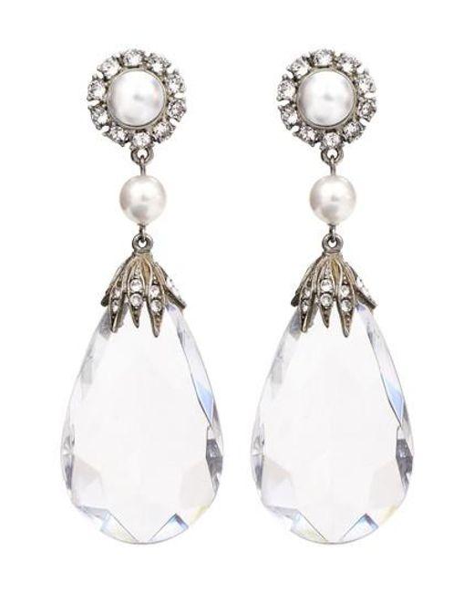 Ben-Amun - Metallic Imitation Pearl & Crystal Clip Earrings - Lyst