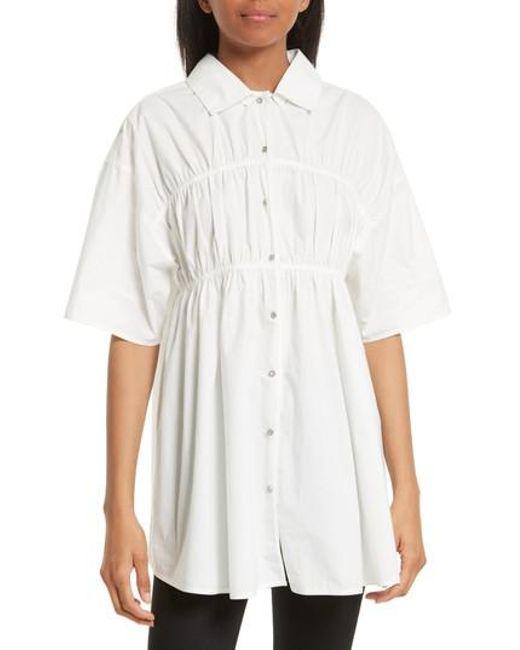 Opening Ceremony | White Gathered Poplin Shirt | Lyst