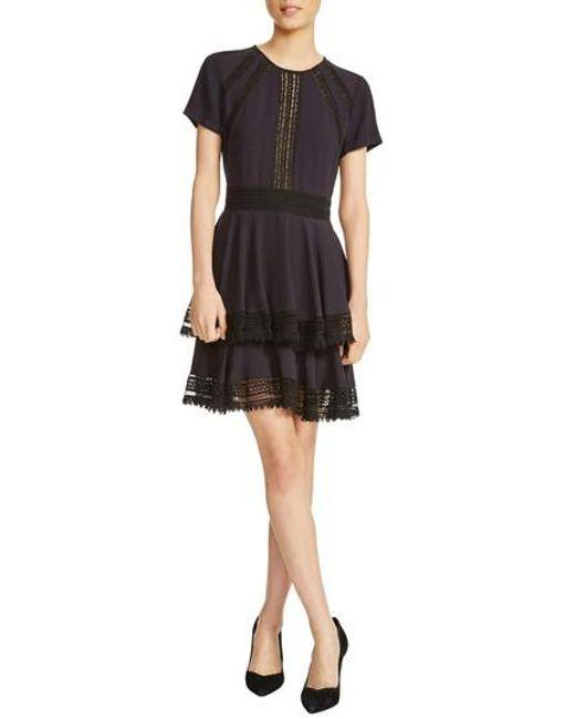 Maje - Blue Raglia Lace Inset Mini Dress - Lyst