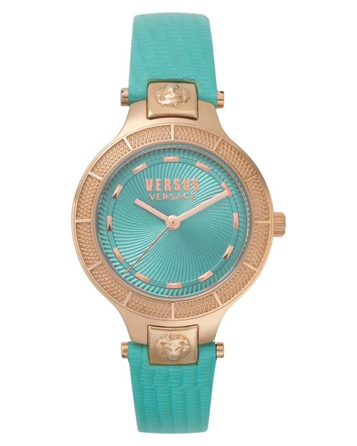 Versus  - Metallic Claremont Leather Strap Watch - Lyst