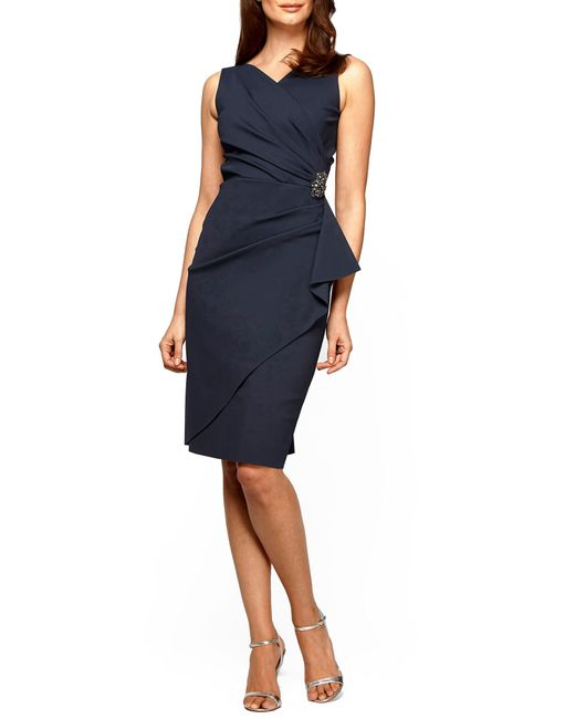 Alex Evenings Gray Side Ruched Dress