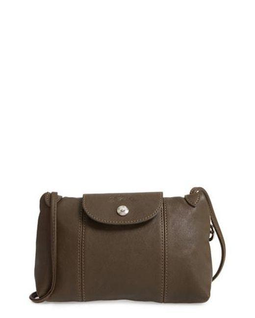 Longchamp - Black 'Le Pliage - Cuir' Crossbody Bag - Lyst