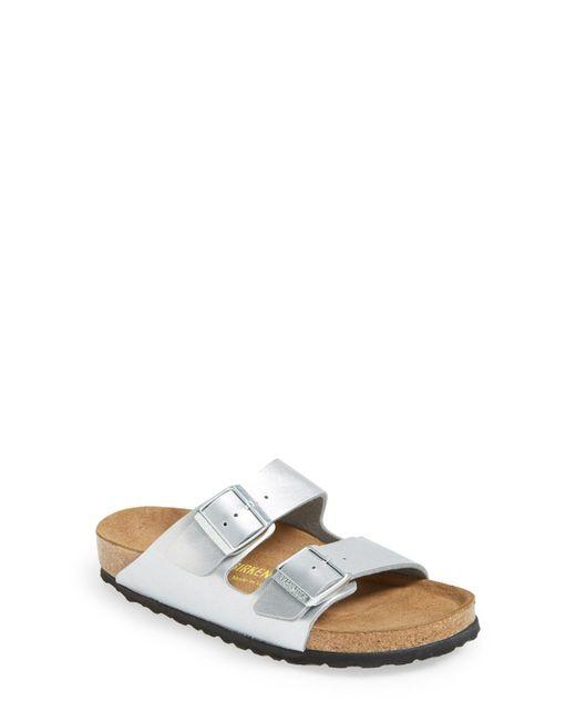 Birkenstock - Metallic 'arizona Birko-flor' Soft Footbed Sandal - Lyst