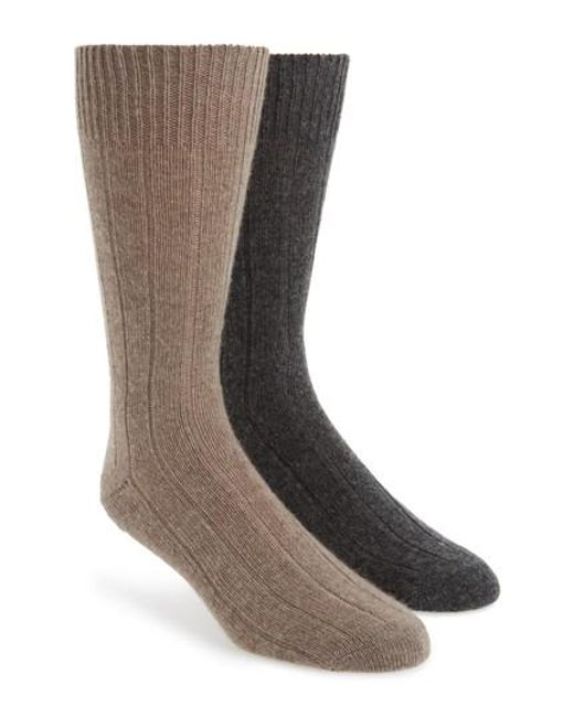 John W. Nordstrom   Gray John W. Nordstrom 2-pack Cashmere Blend Socks Box Set, Grey for Men   Lyst