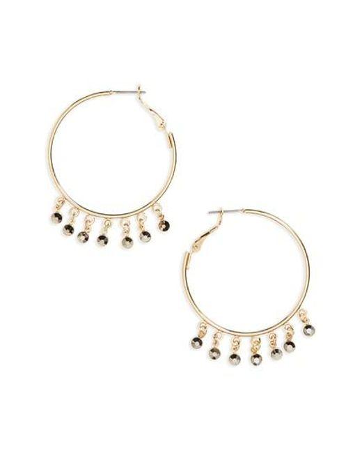 TOPSHOP   Metallic Drop Hoop Earrings   Lyst