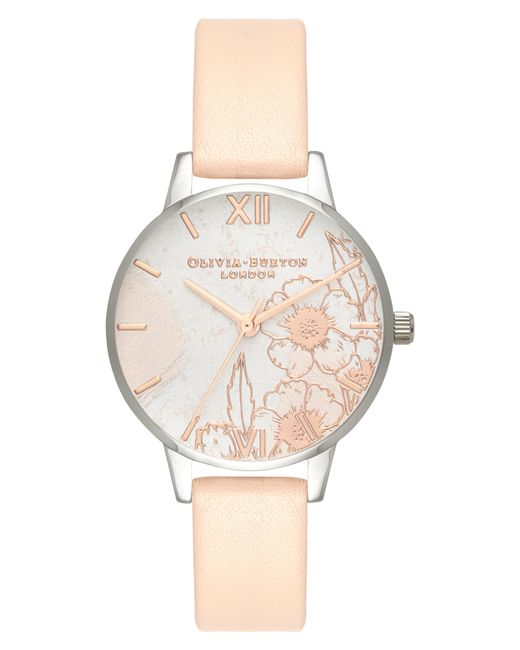 Olivia Burton - Metallic Abstract Floral Leather Strap Watch - Lyst