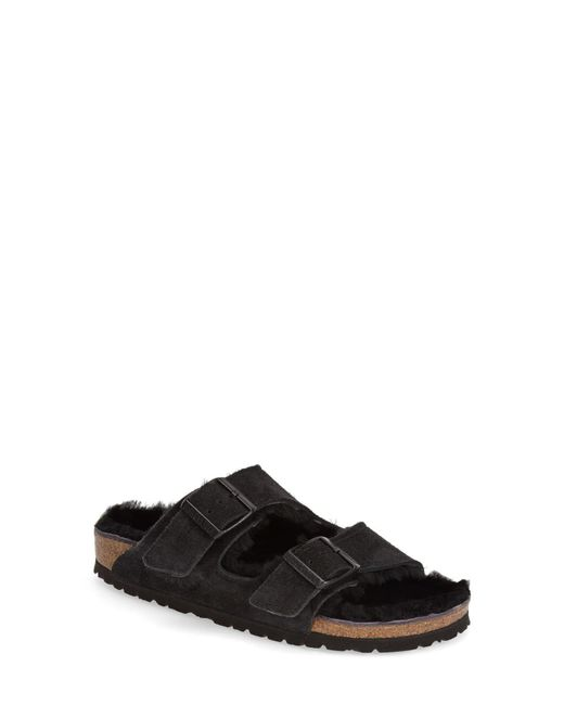 Birkenstock Black 'arizona' Genuine Shearling Lined Sandal