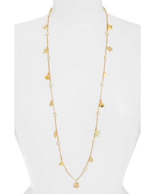 Tory Burch - Metallic Bellflower Rosary Necklace - Lyst